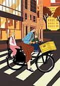 가을, 자전거, 여가 (주제), 휴식, 횡단보도, 엄마, 어린이 (나이), 가족, 도시