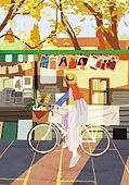 가을, 자전거, 여가 (주제), 휴식, 단풍나무 (낙엽수), 공원, 벼룩시장 (시장), 노을