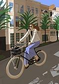 가을, 자전거, 여가 (주제), 휴식, 도로, 여성 (성별)