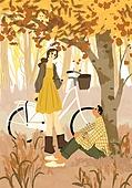 가을, 자전거, 여가 (주제), 휴식, 단풍나무 (낙엽수), 나무, 커플, 데이트