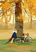 가을, 자전거, 여가 (주제), 휴식, 풍경 (컨셉), 단풍나무 (낙엽수), 나무, 책, 공원감시원