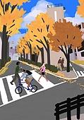 가을, 자전거, 여가 (주제), 휴식, 풍경 (컨셉), 단풍나무 (낙엽수), 횡단보도, 도로