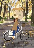 가을, 자전거, 여가 (주제), 휴식, 풍경 (컨셉), 단풍나무 (낙엽수), 공원, 여성 (성별)