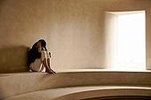 여성, 외로움, 스트레스, 번아웃증후군 (격언), 우울 (슬픔), 슬픔, 웅크림 (몸의 자세)