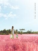 가을, 풍경 (컨셉), 초원 (자연의토지상태), 카피스페이스 (콤퍼지션), 감성, 여행, 핑크뮬리, 엄마, 딸