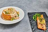크림파스타, 파스타, 음식, 요리 (음식상태), 빠네파스타 (파스타), 연어스테이크, 연어-해산물 (조리생선)