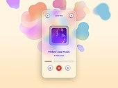 글래스모피즘, 스마트폰, 감성, 백그라운드, 음악, 파스텔톤 (색상강도)