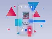 글래스모피즘, 스마트폰, 감성, 백그라운드, 음악, 삼각형, 정사각형이미지 (콤퍼지션)
