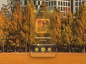 글래스모피즘, 스마트폰, 감성, 백그라운드, 음악, 가을, 단풍철 (가을), 공원