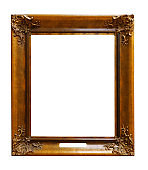 Picture gold wooden ornate frame for design on white  background
