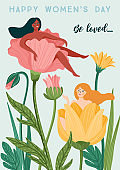 International Women s Day. Vector template with women and flowers for card, poster, flyer and other