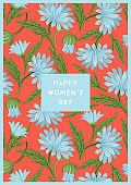 International Women s Day. Vector template with beautiful flowers for card, poster, flyer and other