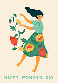 International Women s Day. Vector template with dancing woman and flowers for card, poster, flyer and other