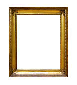 Picture gold wooden frame for design on white  background