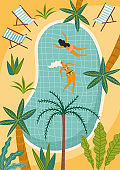 Vector illustration of tropical beach and swimming pool. Design element for summer concept