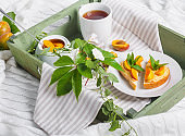 Delicious toasts bread with homemade apricot jam