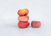 Fresh ripe peaches heap. Copy space.