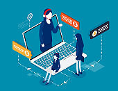 Mobile call center with consultant. Isometric online customer technical support concept