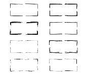 Set of black rectangle vector grunge frames.