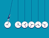 Business time management. Newton's cradle with watch
