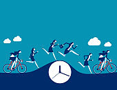 People running and cycling for the work. Modern life concept