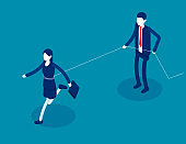 Boss trying to get rid of control employee. Isometri business vector illustration