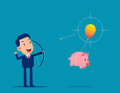 Business person try to stop the balloon that taking his piggy bank away