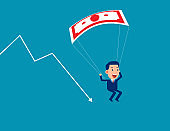 Business person down on a parachute to escape financial crisis. Business cartoon vector illustration
