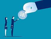 Putting money with universal basic income (UBI) sign
