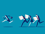 The business person run away from Increased work. Business vector illustration