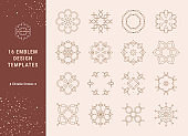 Vector Floral Symbol Concept, Trendy Linear Design Templates. Thin Line Illustration Clip Art Collection Isolated On Background. Minimal Geometric Emblems For Social Media, Company Symbols.
