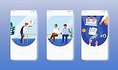 Office meeting. Brainstorm, workshop, teamwork. Mobile app screens, vector website banner template. UI, web site design.