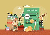People buying food products using shopping list mobile application, flat vector illustration. Grocery list app.