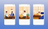 Business tea ceremony. Asian culture, tradition. Mobile app screens, vector website banner template. UI, web site design