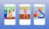 Rhythmic gymnastics performance. Girl dancing with ball. Mobile app screens, vector website banners. UI, web site design