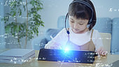 Online education concept. Online class. Asian little girl studying at home. Education. EdTech.