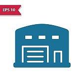 Warehouse, Storage Locker Icon. Professional pixel-aligned icon in glyph style.