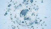Global communication network concept. Worldwide business. Industrial technology.