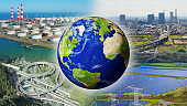 SDGs (Sustainable Development Goals) concept. Environment of the earth. Collage movie. Elements of this image furnished by NASA. 3D rendering.