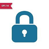 Lock, Locked Icon. Professional pixel-aligned icon in glyph style.