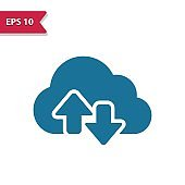 Cloud Computing, Data Icon. Professional pixel-aligned icon in glyph style.