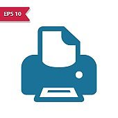 Printer, Printing Icon. Professional pixel-aligned icon in glyph style.