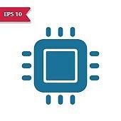 CPU, Processor, Microprocessor Icon. Professional pixel-aligned icon in glyph style.