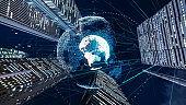 Global communication network concept. International city. 5G. IoT (Internet of Things). Telecommunication.