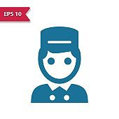 Bellhop, Bellboy Icon. Professional pixel-aligned icon in glyph style.