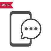 Smartphone - Mobile Phone With Chat Bubble - Texting Icon