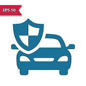 Car Insurance Icon. Professional pixel-aligned icon in glyph style.