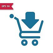 Online Shopping, Internet Shopping, E-commerce, Ecommerce Icon. Professional pixel-aligned icon in glyph style.