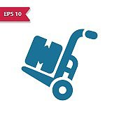Hand Truck Icon. Professional pixel-aligned icon in glyph style.