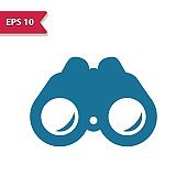Binoculars Icon. Professional pixel-aligned icon in glyph style.